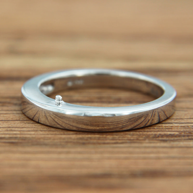 14K White Gold Tapered Band