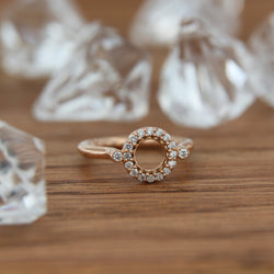 14K Rose Gold diamond ring circle