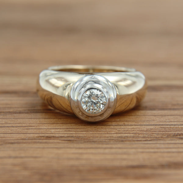14K Two Toned Gold Ring Round Brilliant Cut Diamond Bezel Set