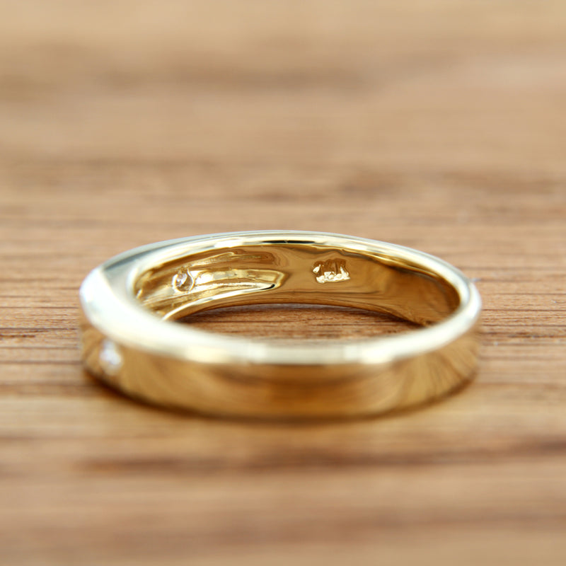 14K Yellow Gold Wedding Band with Diamonds