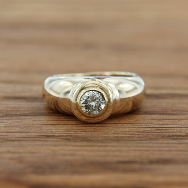 14K Yellow Gold Ring with Round Brilliant Cut Diamond Larger than Half Carat Stone