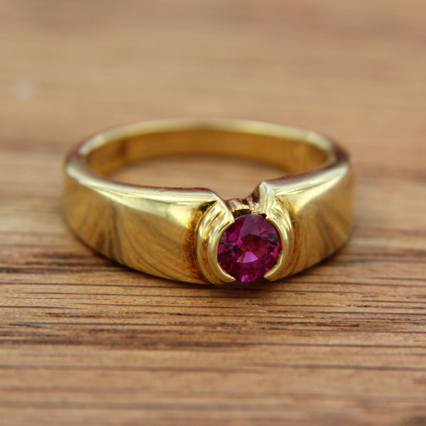 Ruby Genuine Gemstone Round Cut Half Bezel Set in 18K Yellow Gold Handmade