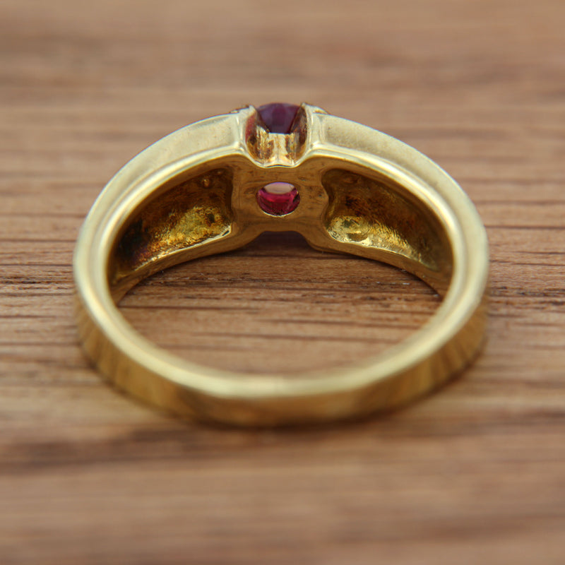 Back of Ring with Ruby Genuine Gemstone Round Cut Half Bezel Set in 18K Yellow Gold Handmade