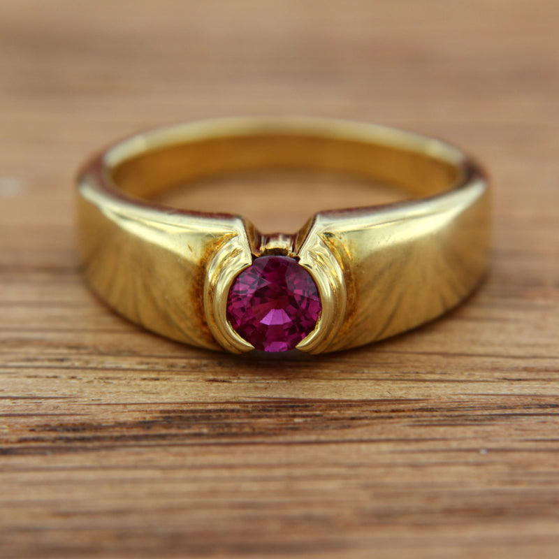 Front of Ring with Ruby Genuine Gemstone Round Cut Half Bezel Set in 18K Yellow Gold Handmade