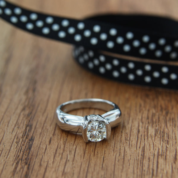 14K White Gold Diamond Ring with Diamond Bridge Accent