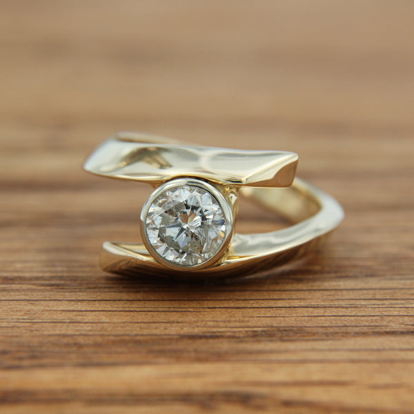 14K Yellow and White Gold Bypass Diamond Ring over 1 Carat Brilliant Round Cut Front View