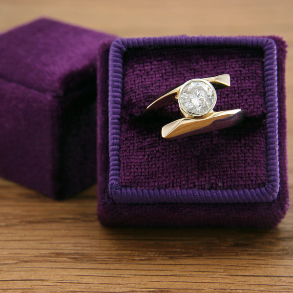 14K Yellow and White Gold Bypass Diamond Ring over 1 Carat Brilliant Round Cut in Box