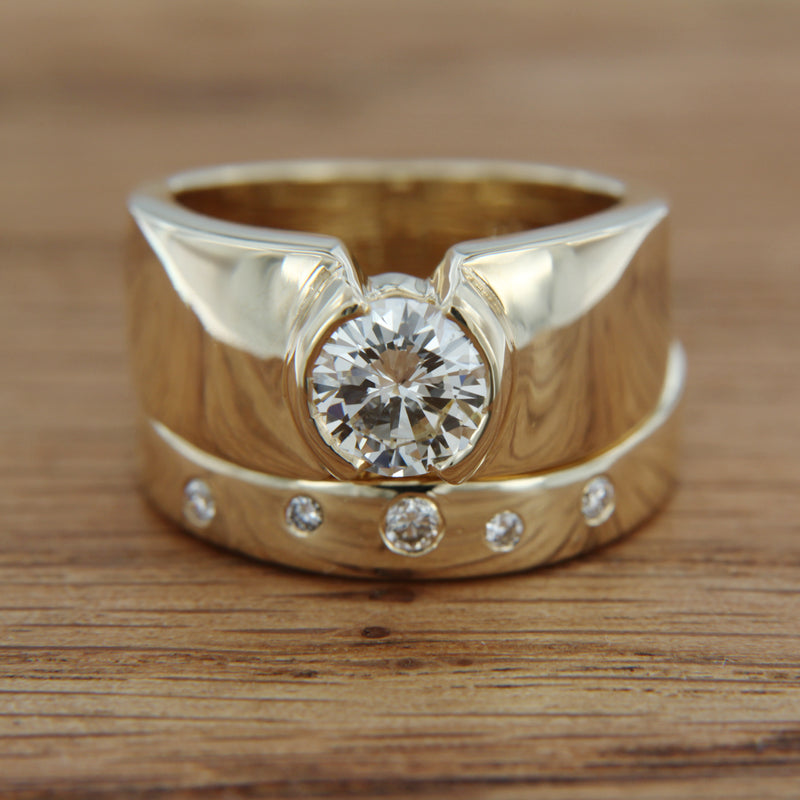 14K Yellow Gold Wedding Band with Diamonds and Engagement Ring Set