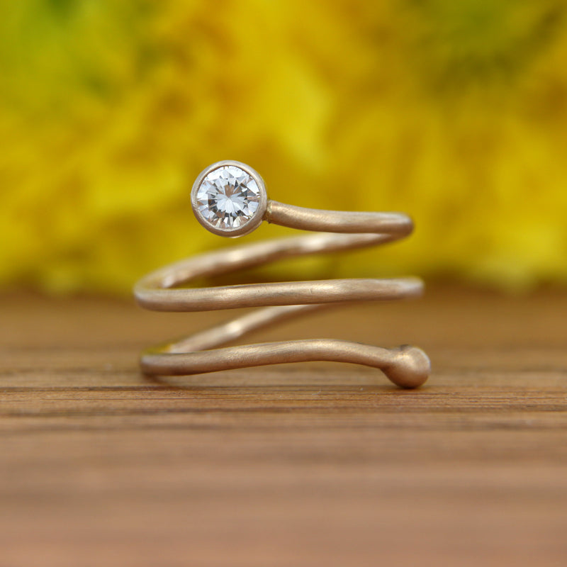 Front View Handmade Wrap Ring 14K Yellow Gold Satin Finish with Diamond