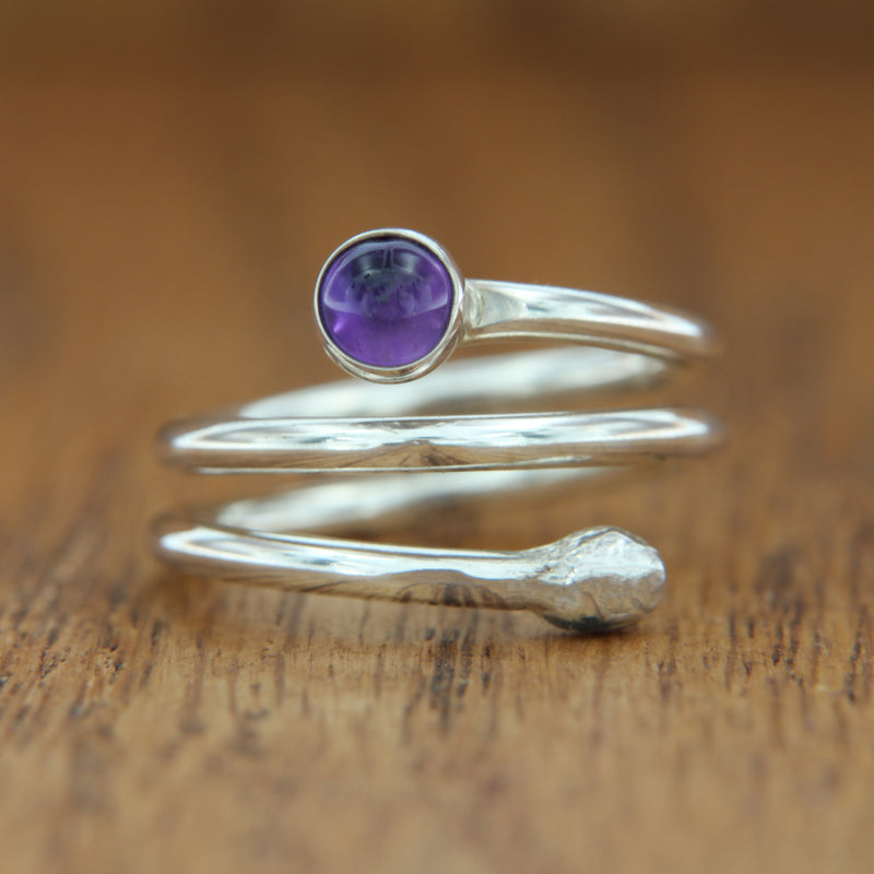 sterling silver wrap ring with amethyst cabochon