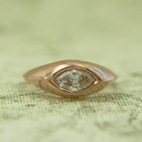 14K Rose Gold Marquise East/West Set Diamond Ring Bezel Set