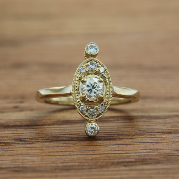 14K Yellow Gold Vintage Style Ring with Diamonds
