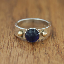 women's sterling silver handmade ring iolite cabochon yellow gold size 7