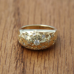 14K Yellow Gold Diamond Ring Star Set Flush Euro Shank