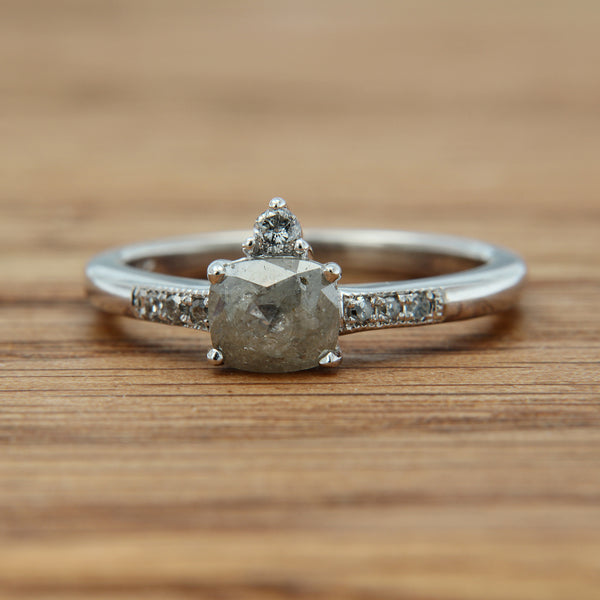 14KW cushion shape rose cut salt and pepper diamond .69CT with .11cttw side accent diamonds, band .20cttw diamonds