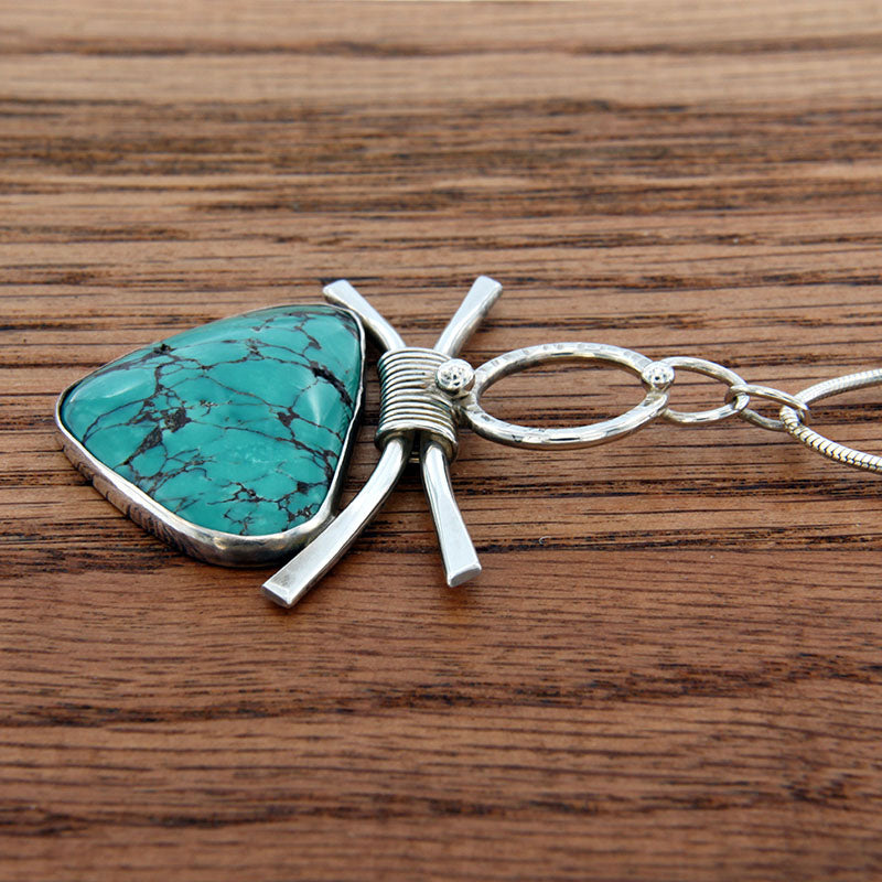 "Sterling Silver Handmade Pendant with Turquoise on 18"" Snake Chain"