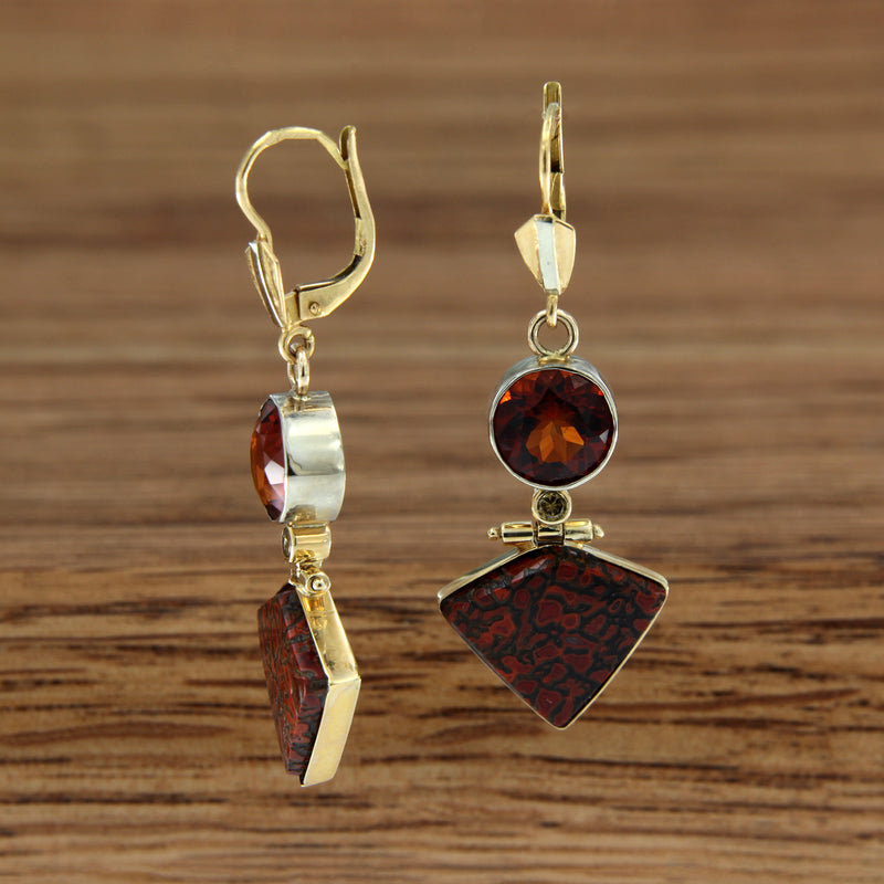 14K Two-tone Drop Earrings Petrified Dino Bone Cognac Diamond Garnet