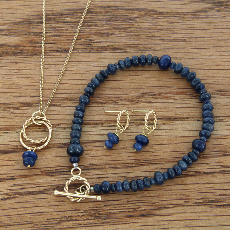 "14K Yellow Gold Handmade Pendant with Sapphire on 16"" 14K Gold Chain with Matching Earrings and Bracelet"