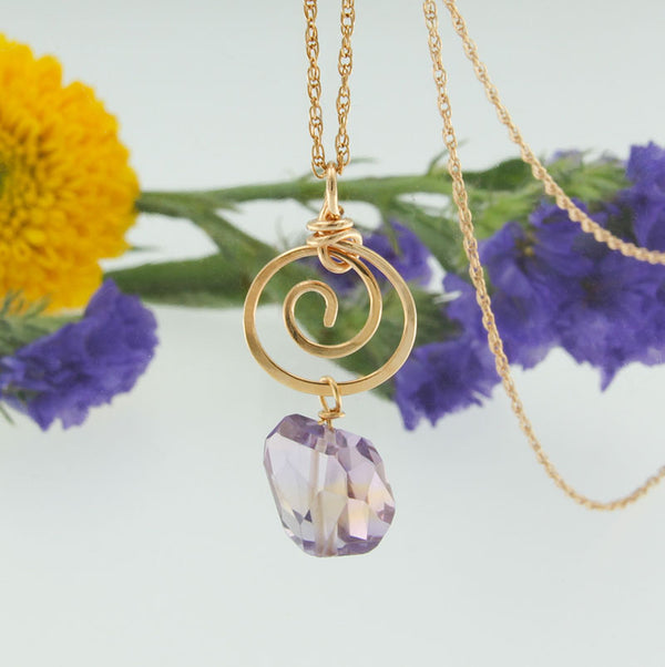 Genuine Ametrine Gemstone Drop on 14K Yellow Gold Handmade Pendant