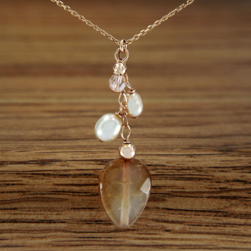 Agate and Fresh Water Pearl Necklace with Rose Gold Filled Chain 18""