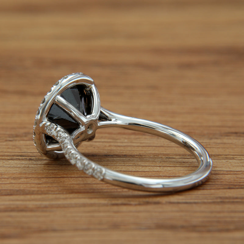 black diamond white gold ring with white diamond halo back view