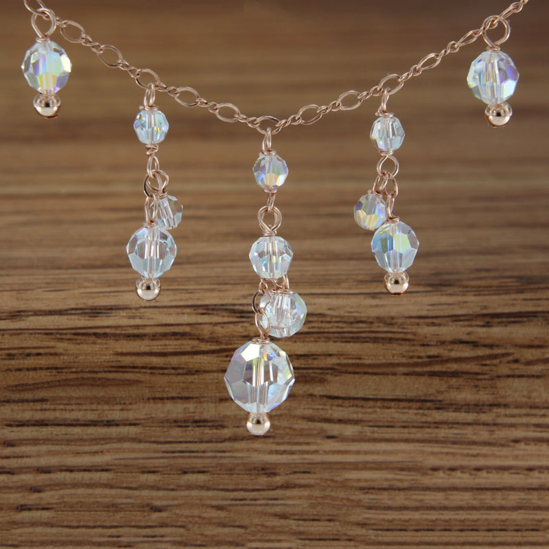 "Swarvoski Crystal and Rose Gold Filled 18"" Necklace"