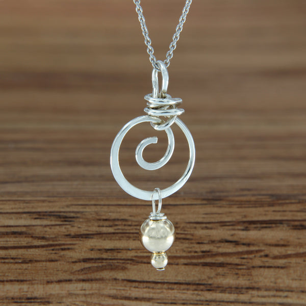 Sterling Silver Hammered Spiral Pendant with Yellow Gold Filled Bead Dangle on Chain