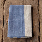 Vintage Blue Stripe Woven Linen Cloth Napkin