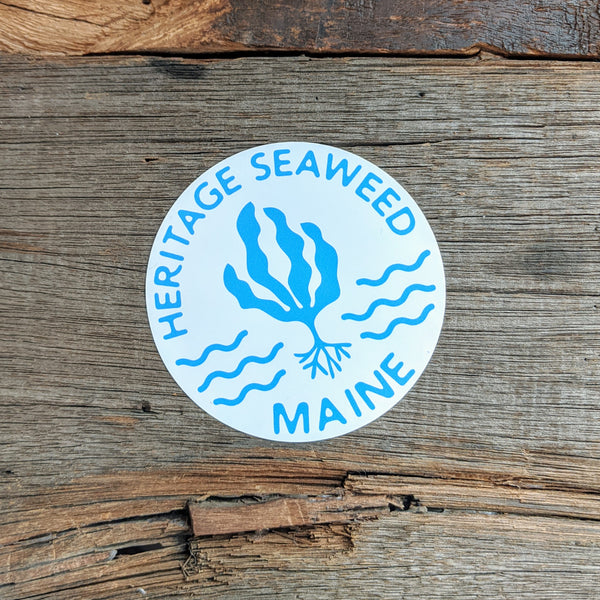 Heritage Seaweed Maine Sticker Featuring Kelp and Waves 3-Inch Diameter
