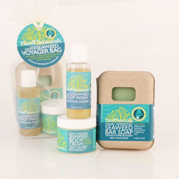 Planet Botanicals Voyager Gift Bag · Lemon Blossom Body Cream, Body Wash & Bar Soap
