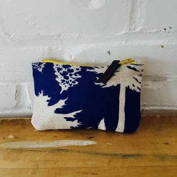 Royal Blue Ashley Pine Zipper Bag: Oatmeal Linen