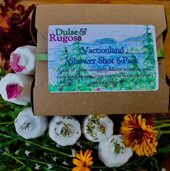 Vacationland Gift Box· 6 Aromatherapy Showers Shots · Dulse & Rugosa