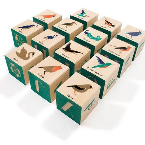 Birds wood blocks by Uncle Goose