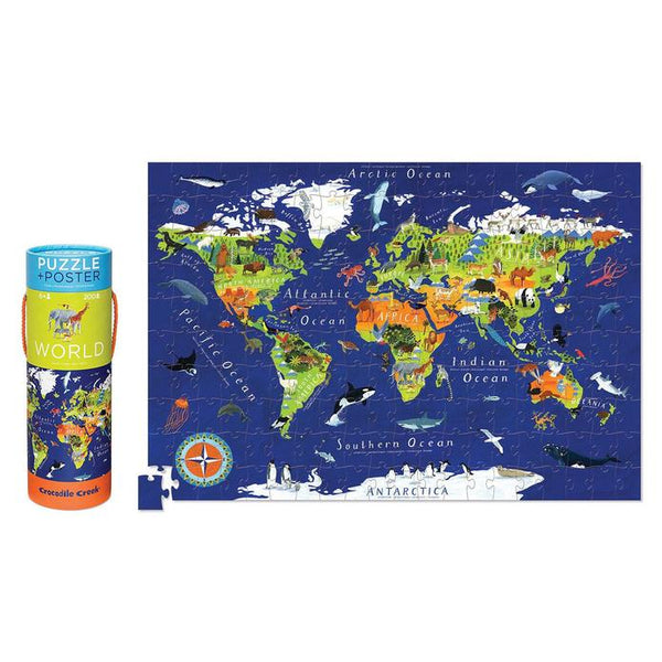 World Map Puzzle + Poster (200pc)