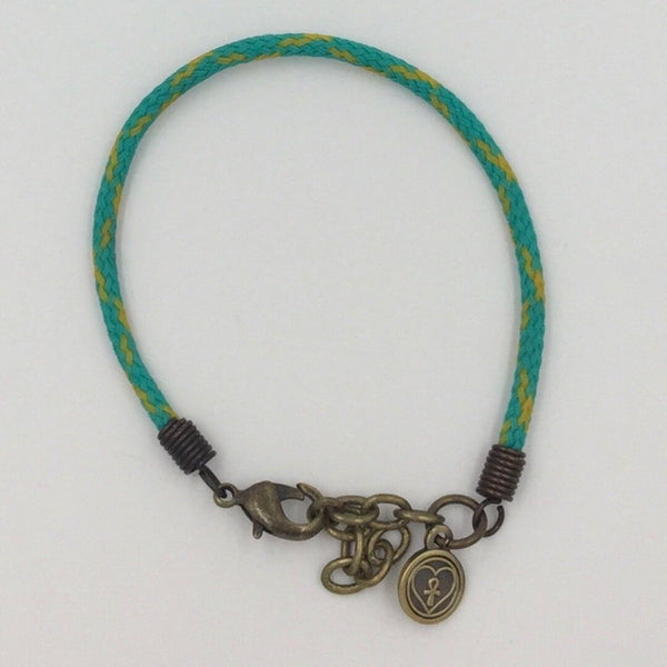 Marine Debris Bracelet - Point Judith (Green with Yellow Tracers)