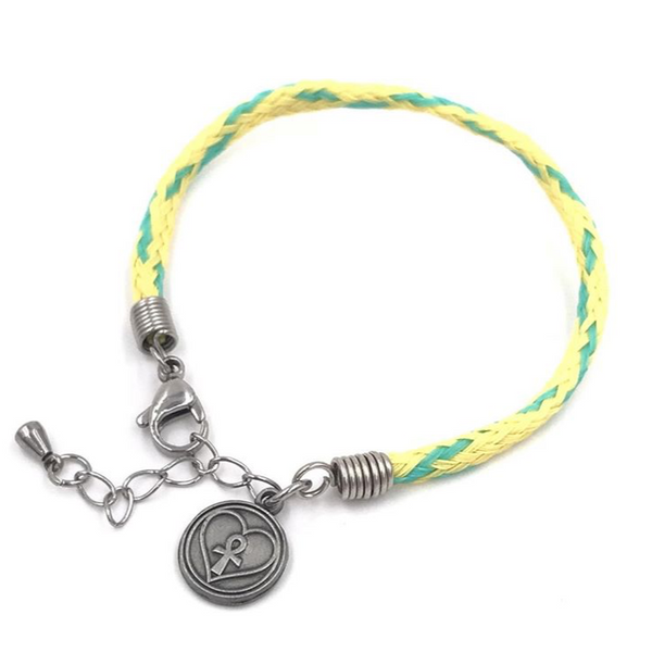 Marine Debris Bracelet - Point Judith (Yellow with Green Tracers)