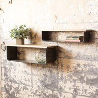 Large Metal and Wood Shelf