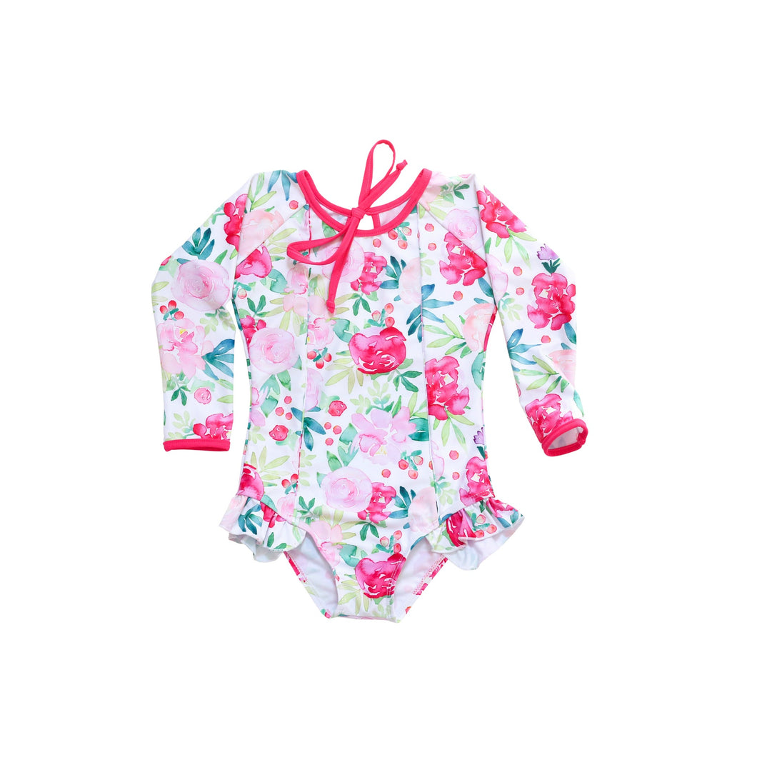 Girls long sleeve rash guard swimsuit