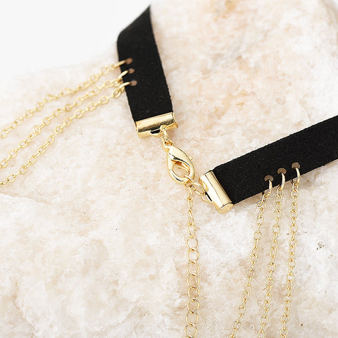 Ariana Sexy Black Suede Choker Necklace