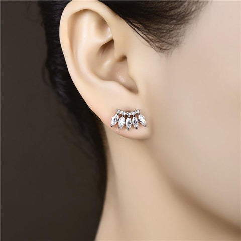Women's Stud Earrings for Women White Gold Color Jewelry AAA Zircon Boucle D'oreille Wedding Earrings Brincos A275