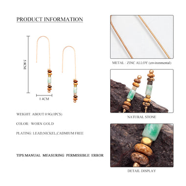 WILD & FREE Women Colorful Stone Bead Pendant Dangle Earrings Vintage Gold Hook Long Drop Earrings Jewelry for Lover Gift