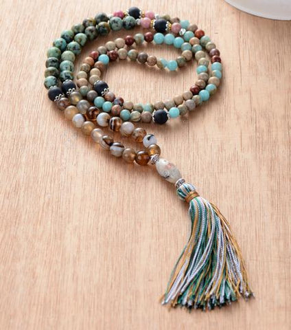 Umay Natural Stone Colorful Tassel Necklace