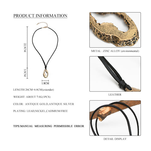 Linza Black Leather Chain Necklace