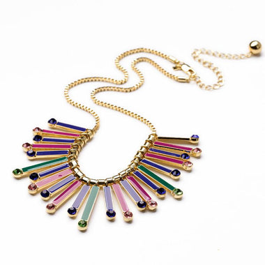 2017 Women's Dress Jewelry Gold Color Alloy Chain Colorful Enamel Pendant Fashion Statement Necklace