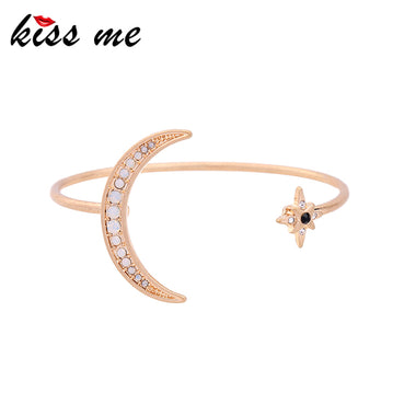 Unique Gold Color Metal Crystal Moon Star Cuff Bracelet 2017 New Brand Women Bracelets & Bangles