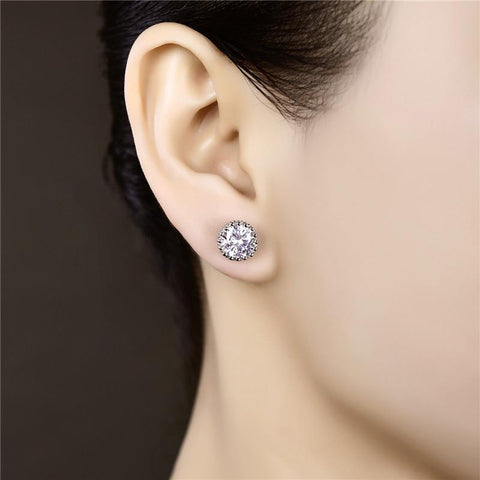 Image of Women's Crown Stud Earrings Fashion White Gold Color Brincos Jewelry for Women Vintage Wedding Earrings 2015 New Arrived MSE001