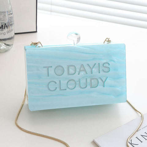 Lucie White Cloud Hard Case Clutch