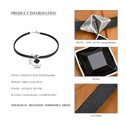 Punk Women Black Leather Choker Necklace Antique Silver Geometric Black Crystal Fashion Choker Necklace Jewelry