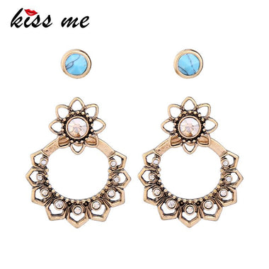 Personalized Alloy Vintage Crystal Flower Drop Earrings 2017 Women Statement Earrings Fashion Jewelry