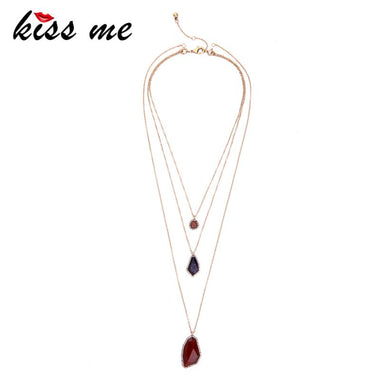 Geometric Pendants Layered Necklace 2017 New Design Fashion Jewelry Women Vintage Accessories